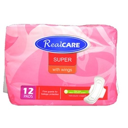 Real Care Super Maxi Pads With Wings 12pk