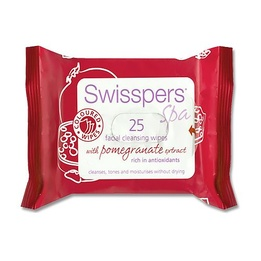 Swisspers Coloured Facial Cleansing Wipes With Pomegranate Extract 25pk