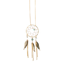 Be Yourself Necklace Dreamcatcher Gold With Turquoise Stones