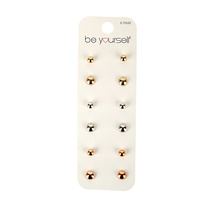 Be Yourself Earring Stud Round Asssorted Colours 6 Pairs