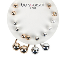 Be Yourself Earring 6 Pairs Studs & Swing Assorted Colours