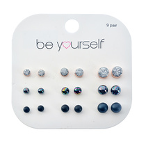 Be Yourself Earrings Stud Stone Oil Spill / Matte Black / Clear 9 Pairs