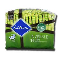 Libra 16pk Invisible Light Absorbent Pads With Wings