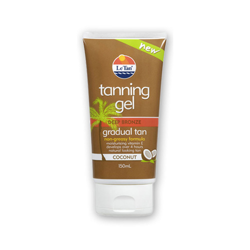 Le Tan Tanning Gel Deep Bronze Gradual Tan Non Greasy Formula Coconut 150ml