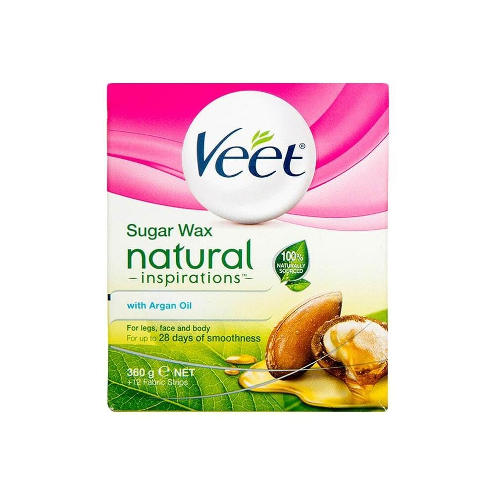 Veet Sugar Wax Natural Inspirations With Argan Oil 360g + 12 Fabric Strips