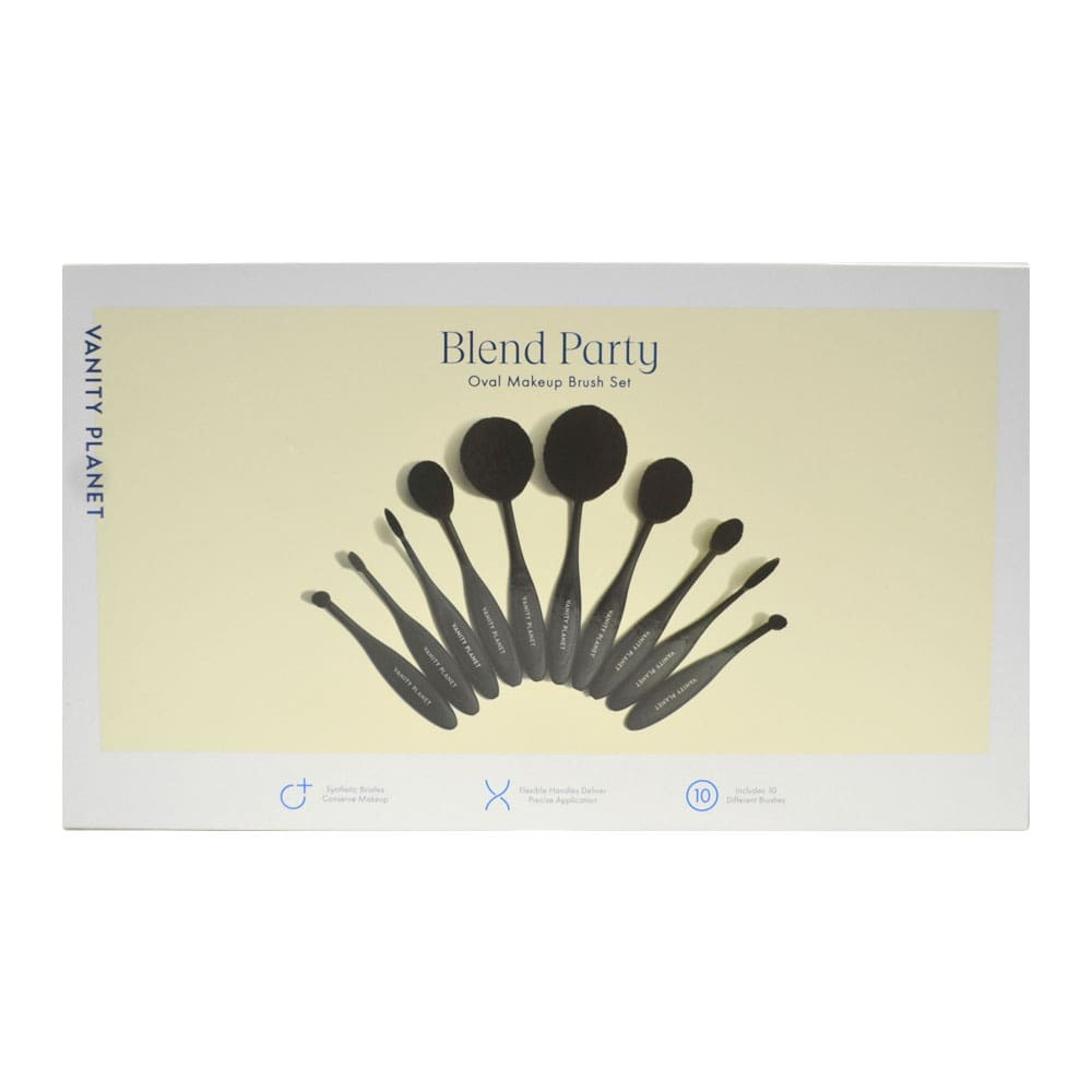 Vanity Planet Blend Party Oval Makeup Brush Set Midnight Black