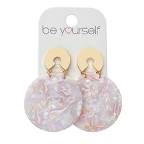 Be Yourself Earring Terrazzo Round Pink