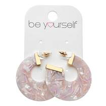 Be Yourself Earring Terrazzo Cut Out Pink