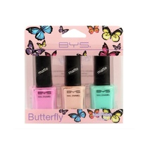 BYS Butterfly Nail Polish Matte Collection 3pk
