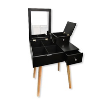 Deluxe Multi-Compartment Makeup Desk - Black
