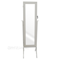 Broadway Style Lockable Standing Jewellery Cabinet With Framed Mirror - White